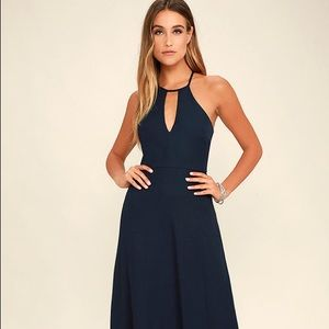 Lulus beauty and grace navy blue maxi dress